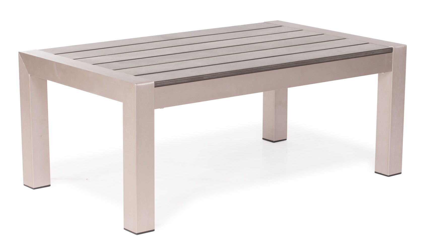 Rivera Modern Brushed Aluminum And Faux Wood Outdoor Coffee Table Zuri Furniture
