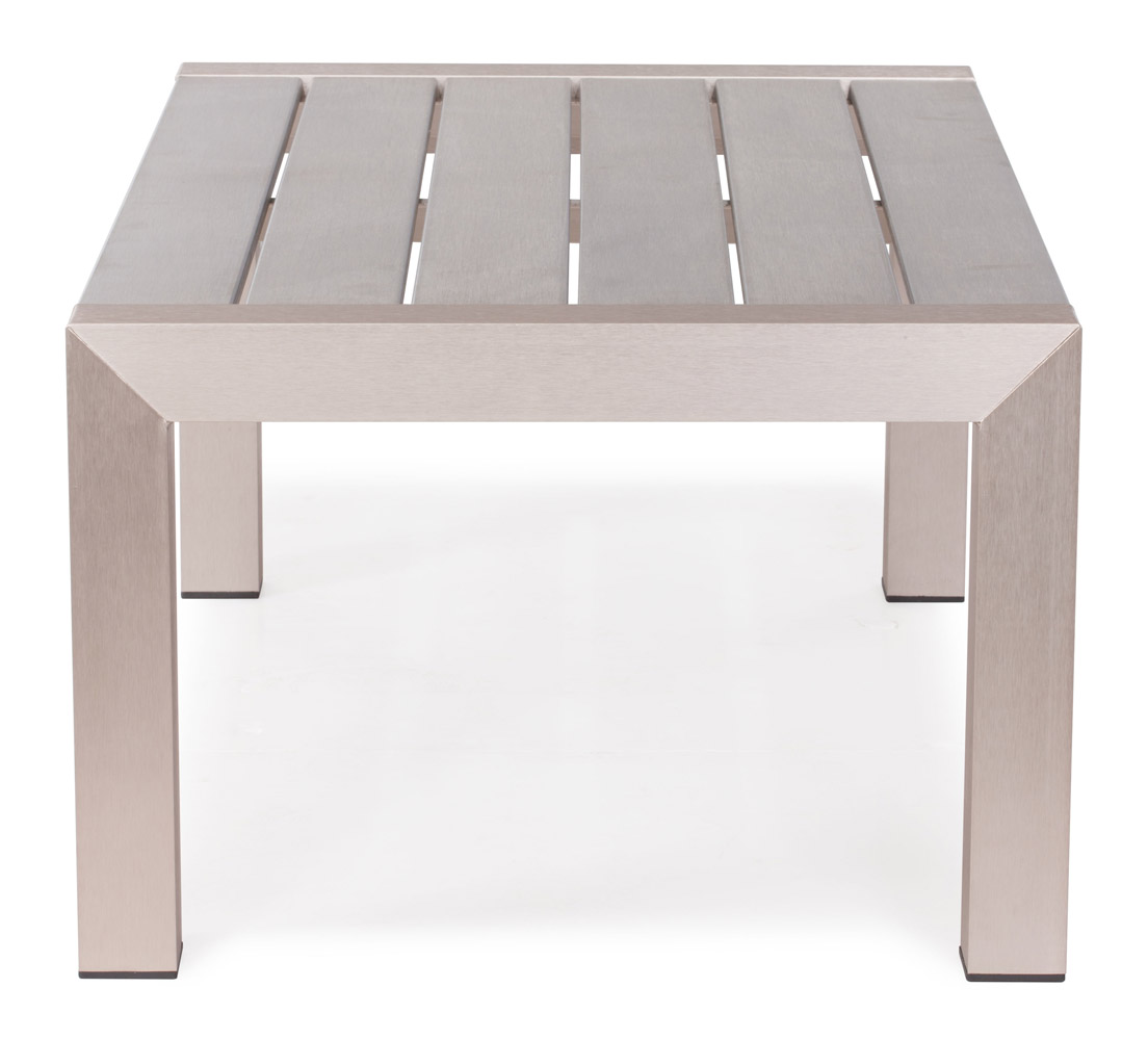 Brushed Aluminum Coffee Table: Rivera Modern Brushed Aluminum And Faux Wood Outdoor