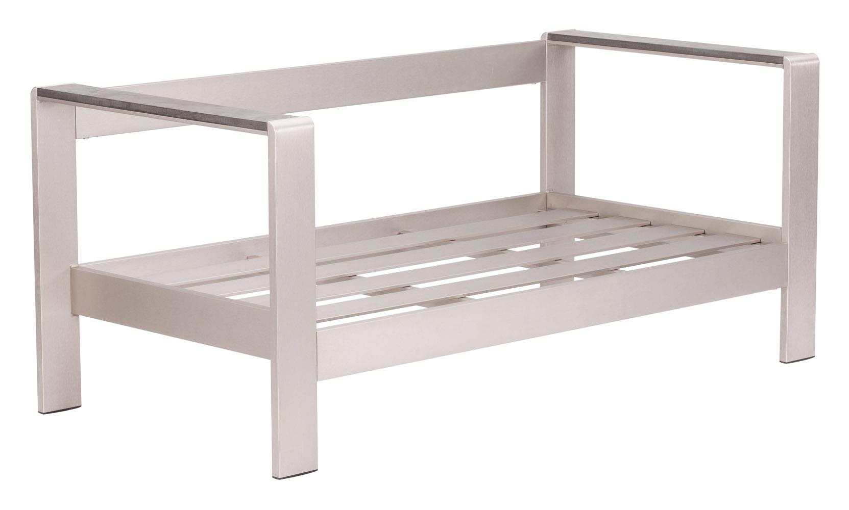 Rivera Modern Brushed Aluminum And Faux Wood Outdoor Patio Sofa Frame Zuri Furniture