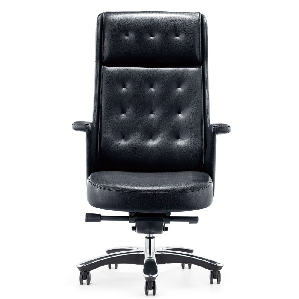 rockefeller genuine leather aluminum base high back executive