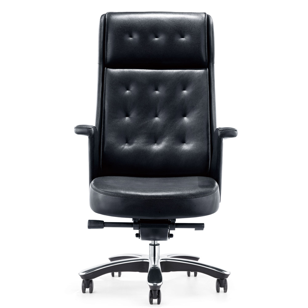 rockefeller genuine leather aluminum base high back executive