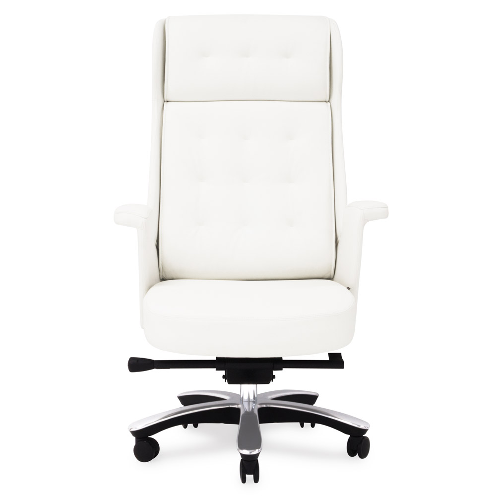 office chair genuine leather white. Rockefeller Genuine Leather Aluminum Base High Back Executive Chair | Zuri Furniture Office White F