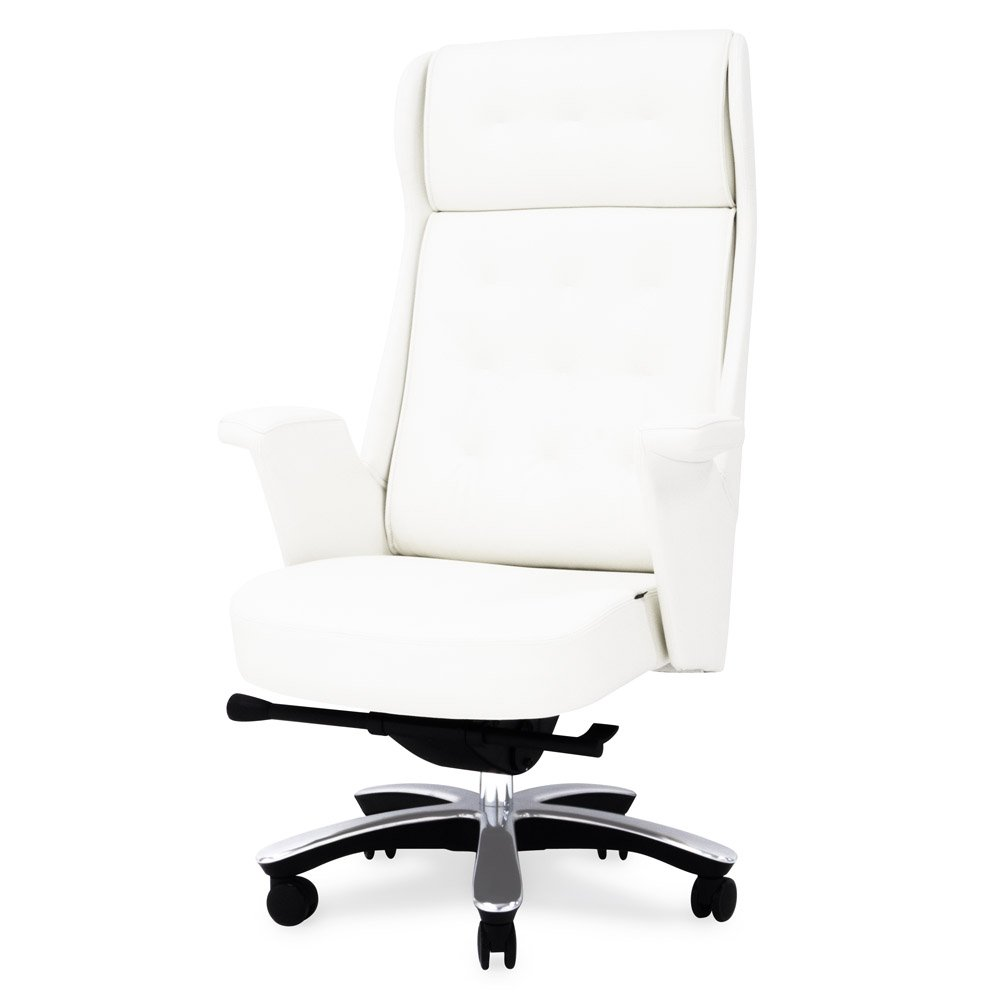 white leather executive chair. Rockefeller Genuine Leather Aluminum Base High Back Executive Chair | Zuri Furniture White I