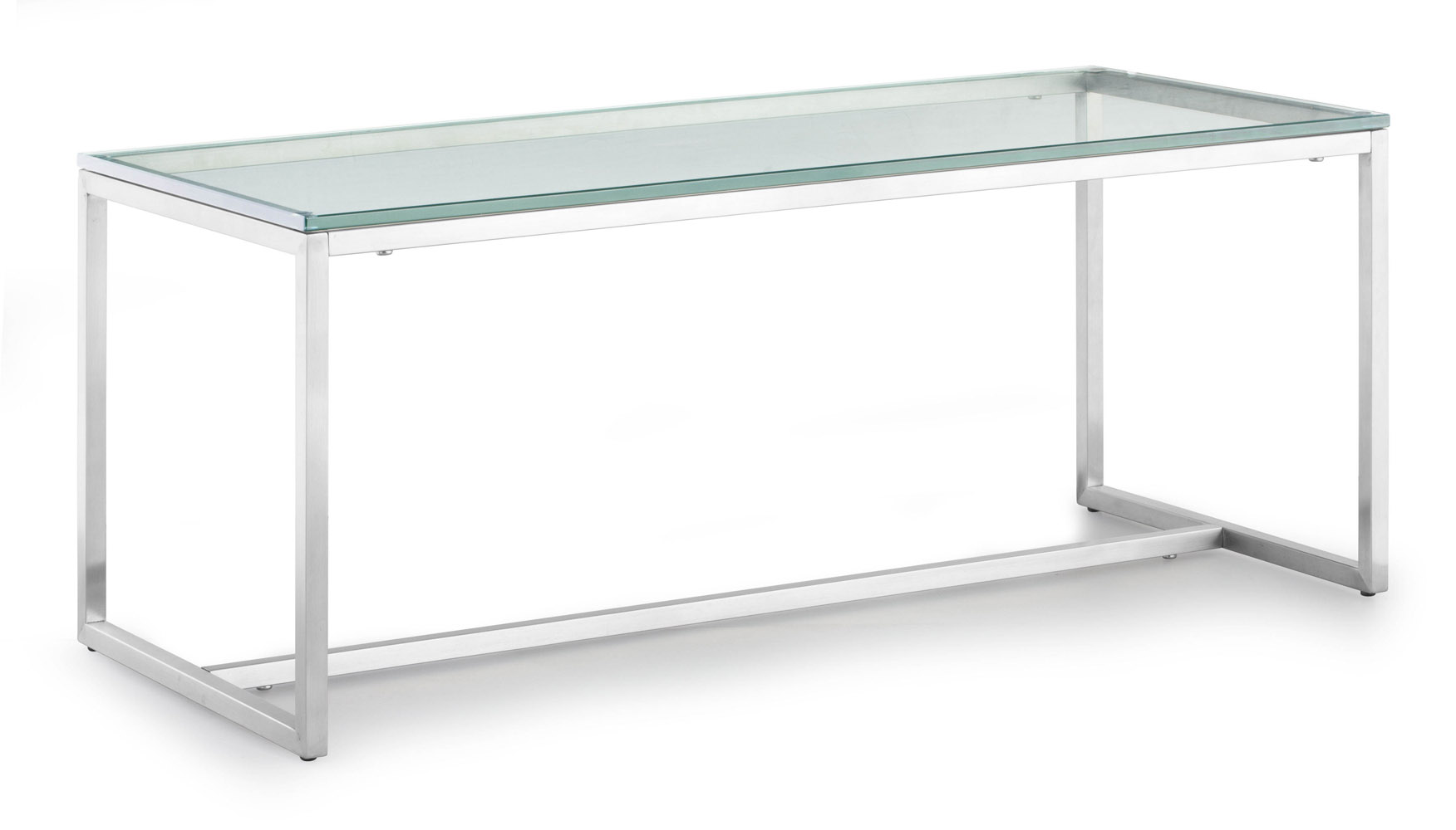 Ryan Brushed Stainless Steel Coffee Table Clear Glass Zuri Furniture