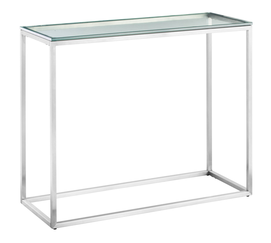 Ryan Brushed Stainless Steel Console Table Clear Glass