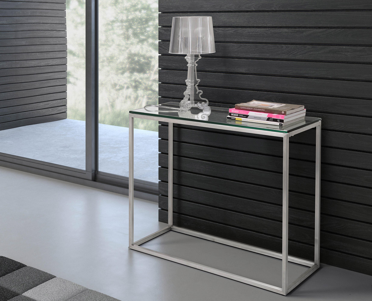 ryan console table. ryan brushed stainless steel console table  clear glass  zuri