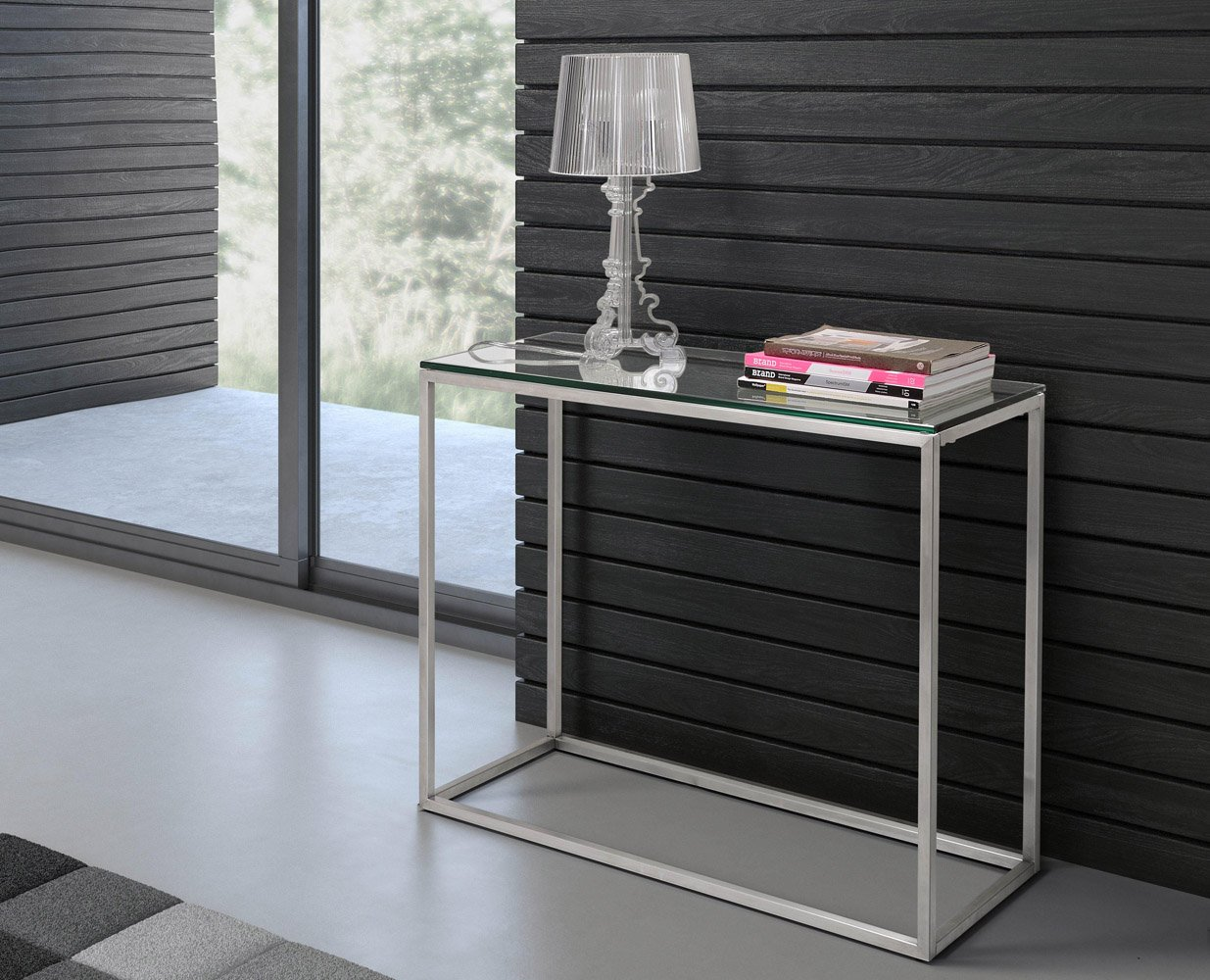 Genial Ryan Brushed Stainless Steel Console Table   Clear Glass | Zuri Furniture