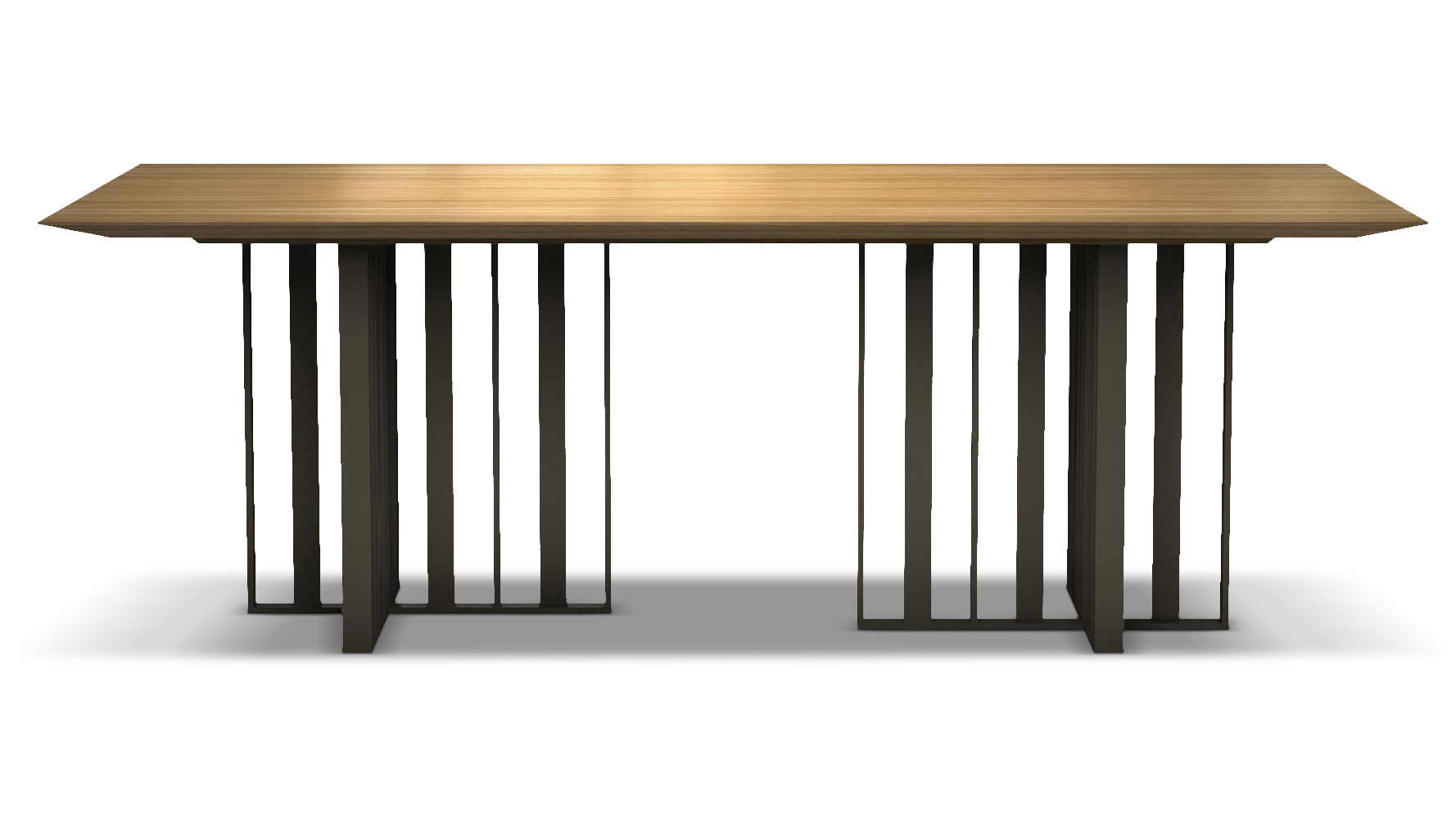 Saida 87 inch wood and aluminum dining table natural oak on bronze zuri furniture - Natural oak dining table and chairs ...