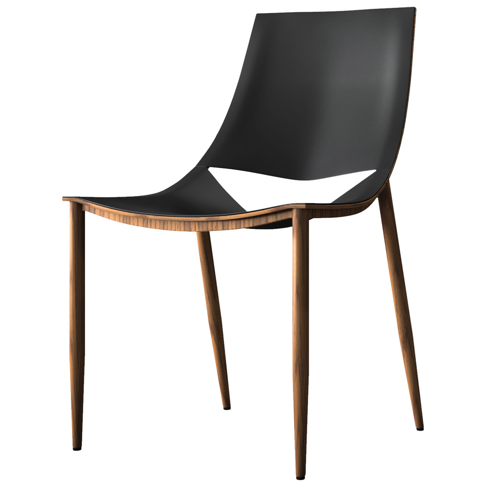 Samson leather and steel dining chair black on teak for Leather and steel dining chairs