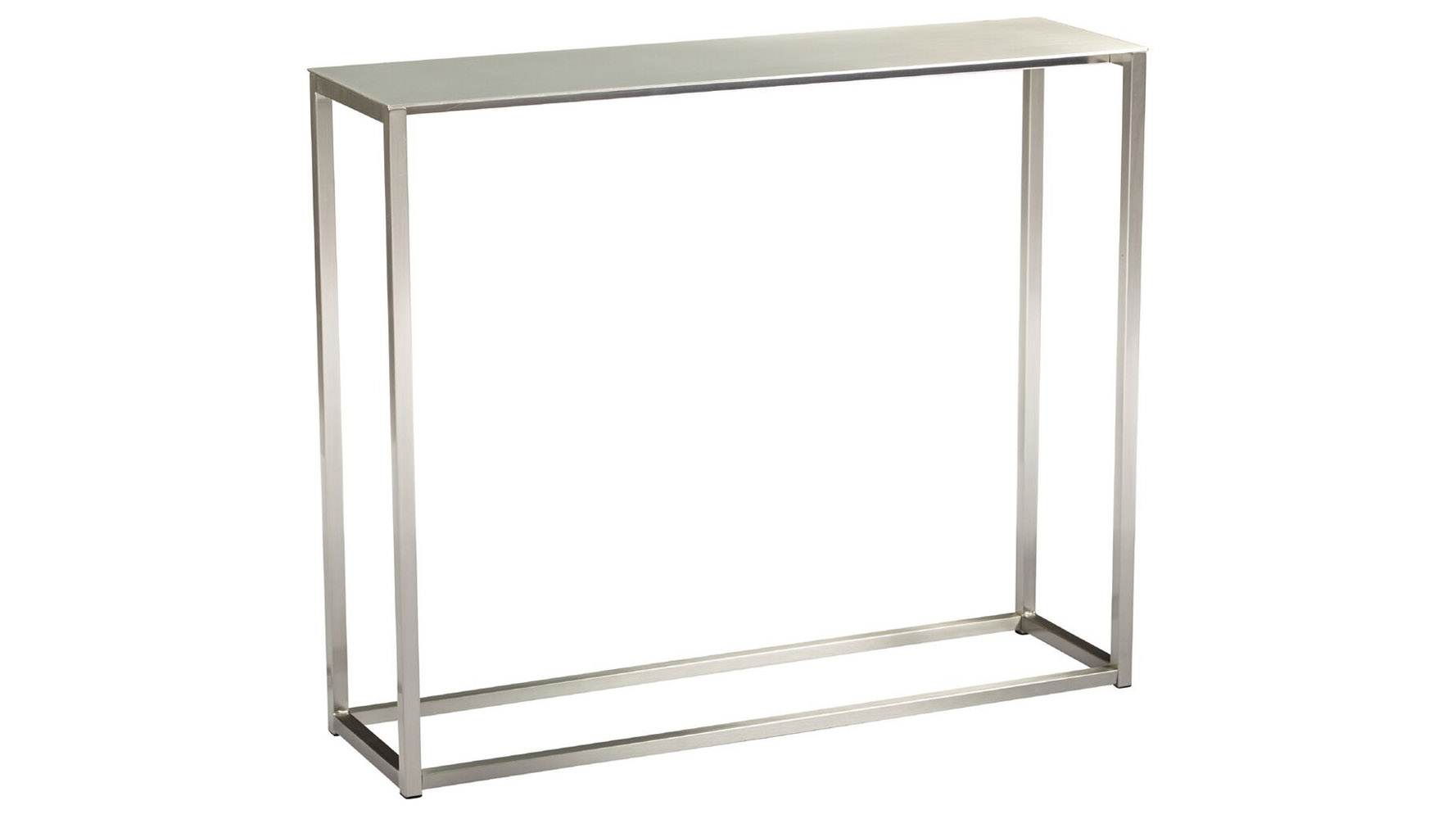 Sancha 36 inch brushed aluminum console table zuri furniture for 24 wide console table