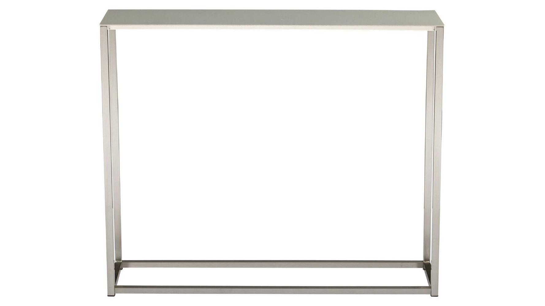 Sancha 48 inch brushed aluminum console table zuri furniture for 48 inch sofa table