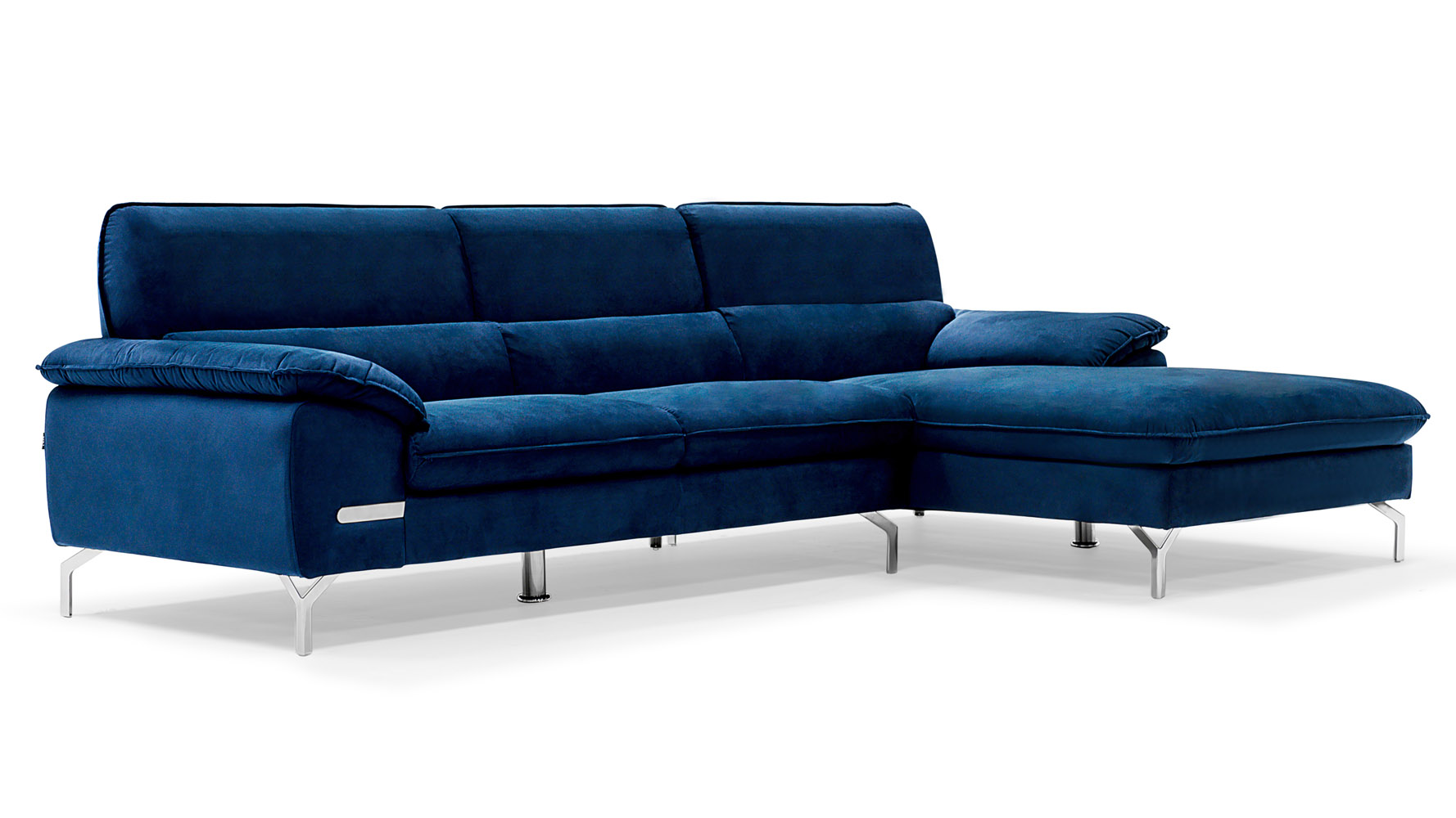 Sapphire blue sectional set with chaise zuri furniture for Blue sectional sofa with chaise
