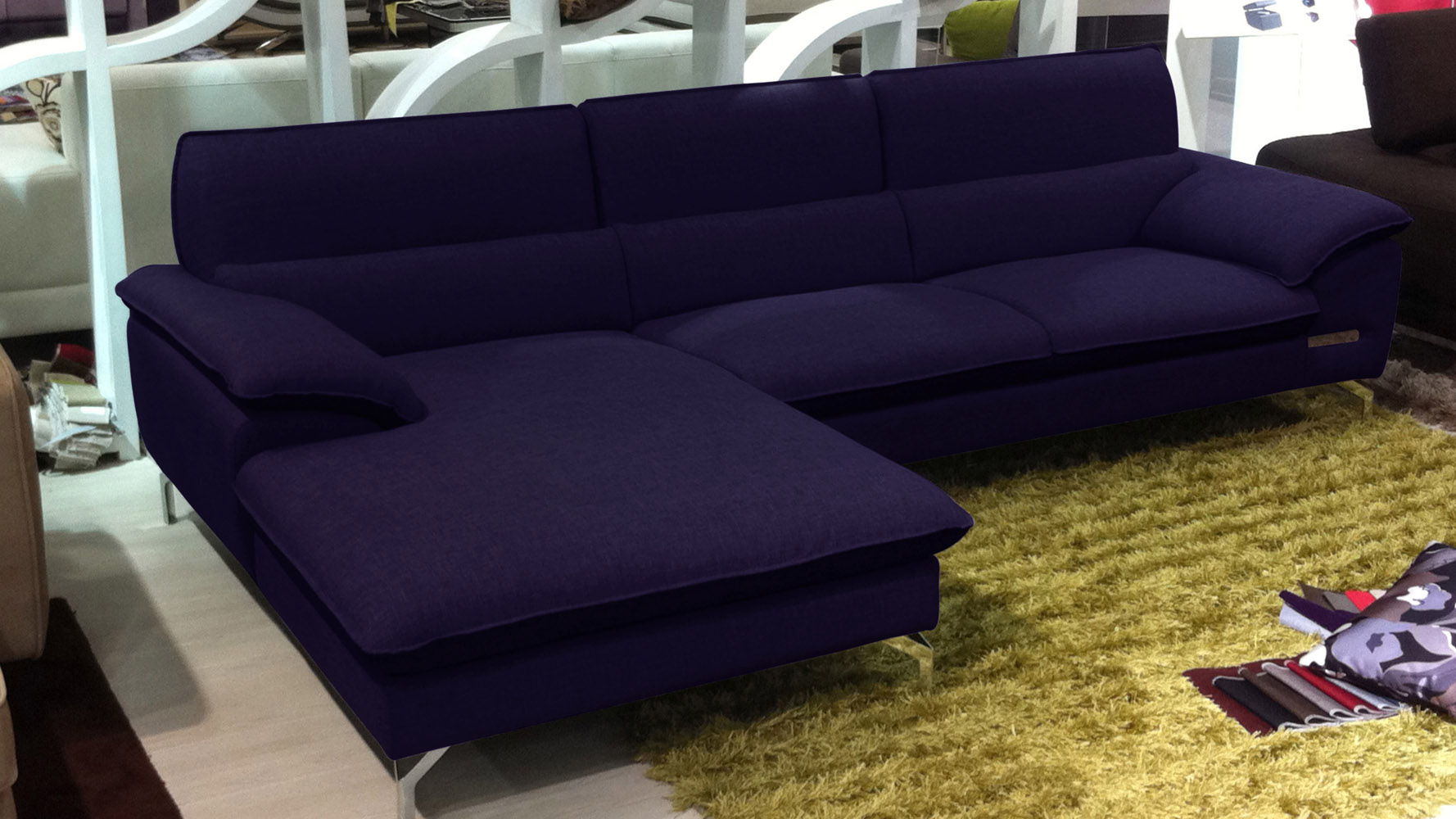 Sapphire Blue Sectional Set with Chaise | Zuri Furniture