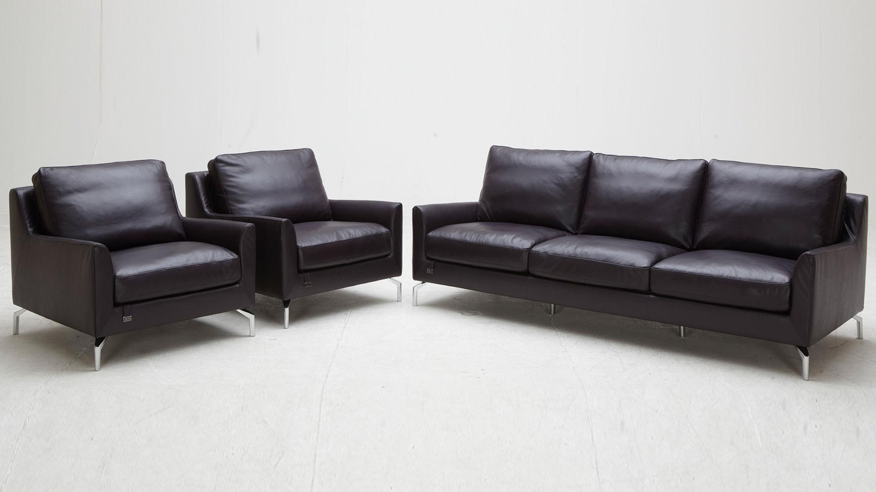 Purple Saxon Leather Sofa Set With Two Chairs | Zuri Furniture