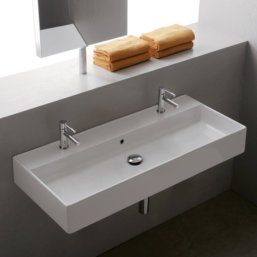 double bowl bathroom sinks teorema wall mounted 2 sink zuri furniture 18175