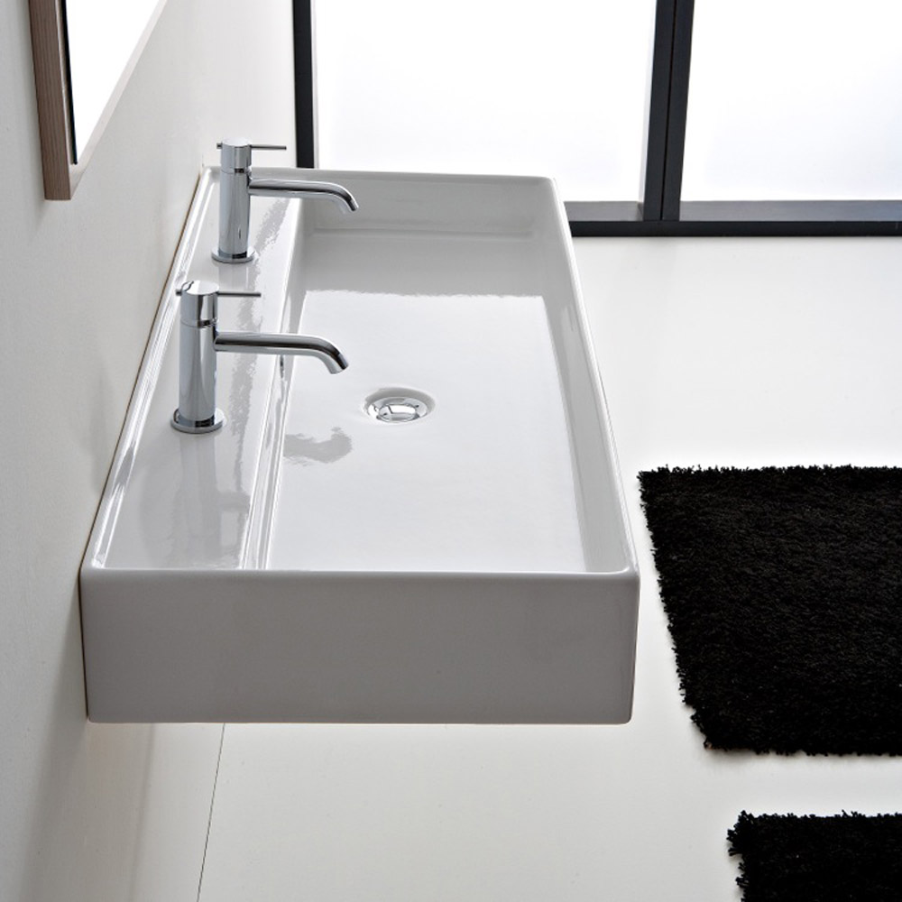 Teorema wall mounted 2 hole sink zuri furniture for Double basin bathroom sinks
