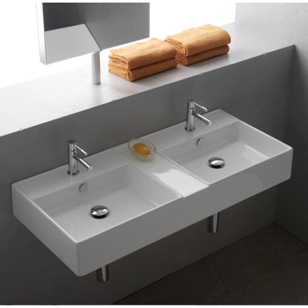 Bathroom Vanity With Vessel Sink Mount: Teorema Wall Mounted Double Sink