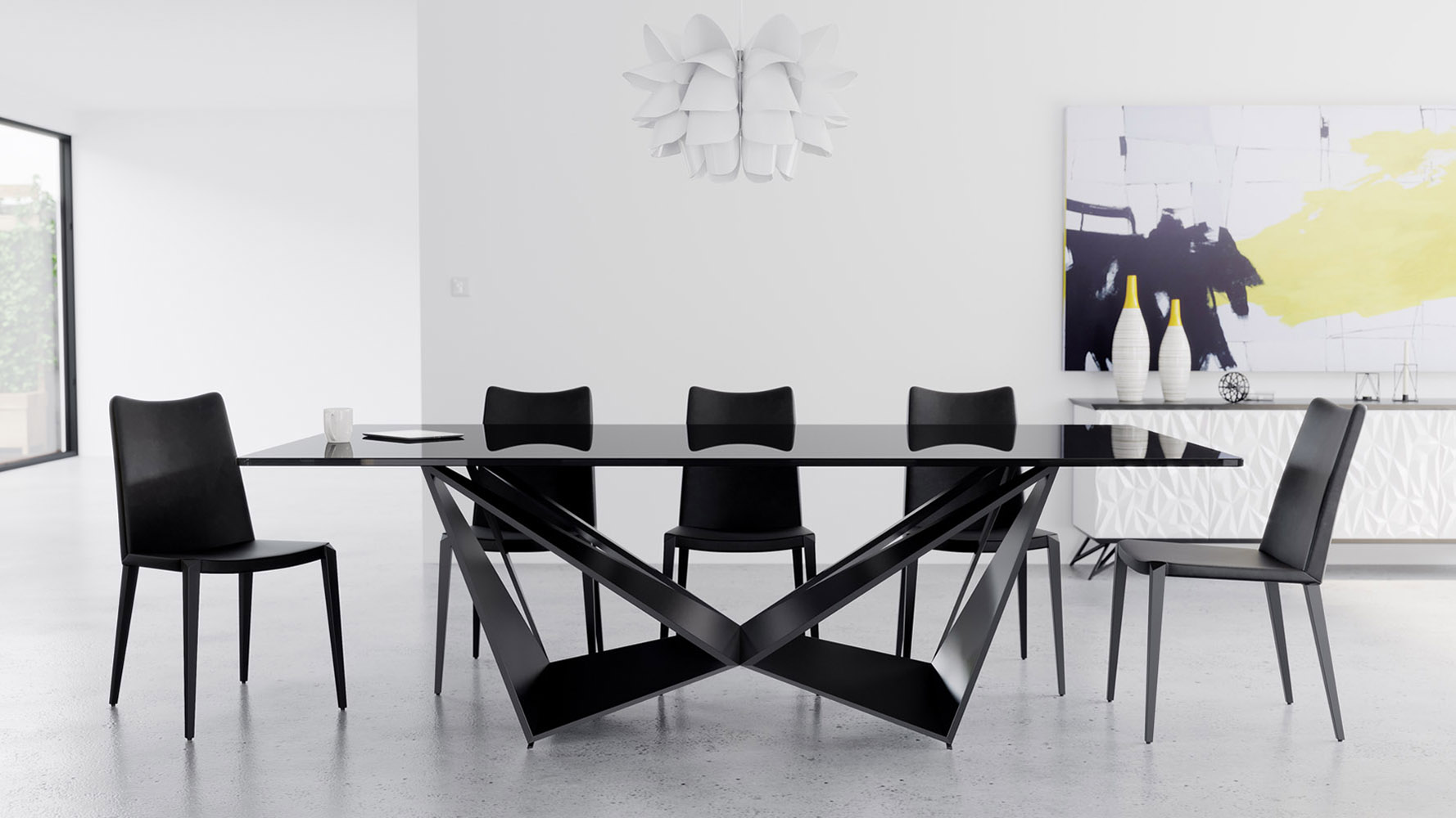 Serra 94 Inch Dining Table In Smoked Glass With Matte