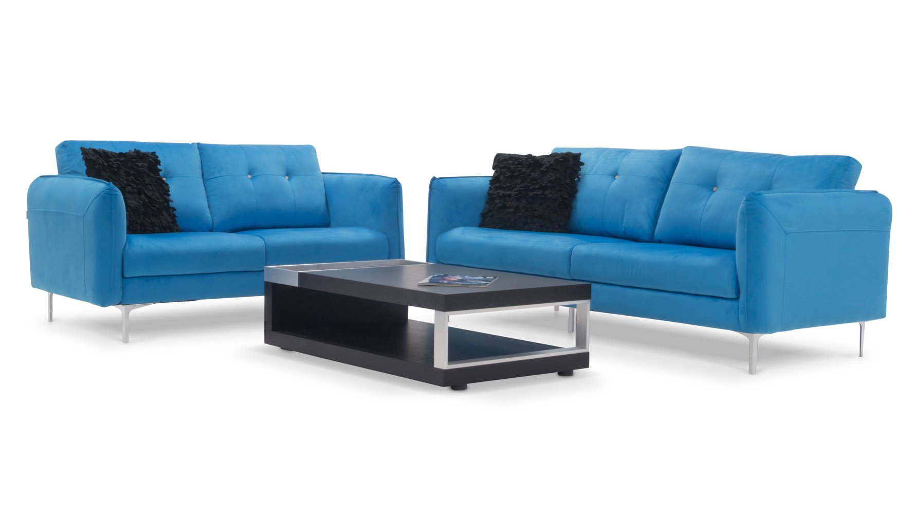 Skyler 2 3 blue fabric sofa set zuri furniture for Couch sofa set