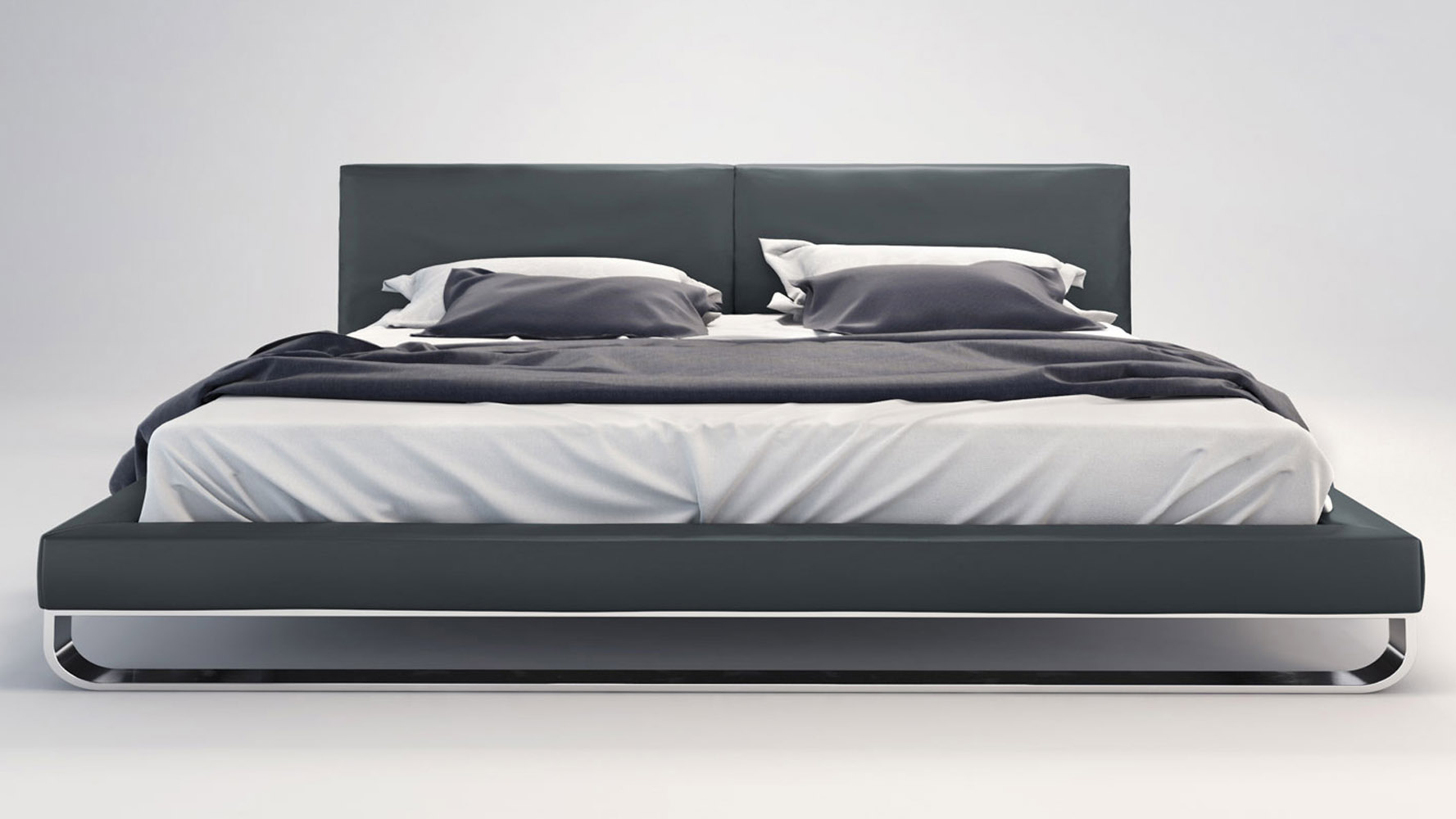 Slate Leather And Chrome Lucca Plaftorm Bed Zuri Furniture