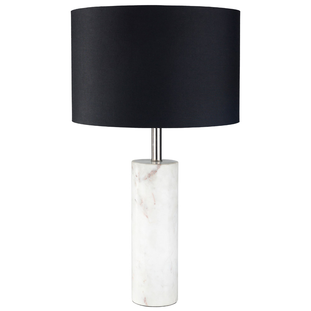 Sonete White Marble Base And Black Cotton Shade Table Lamp