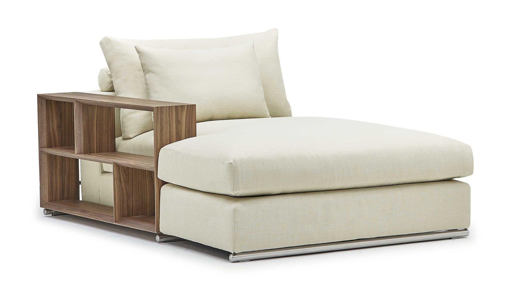 Soriano Chaise With Wooden Arm In Beige Linen Zuri Furniture