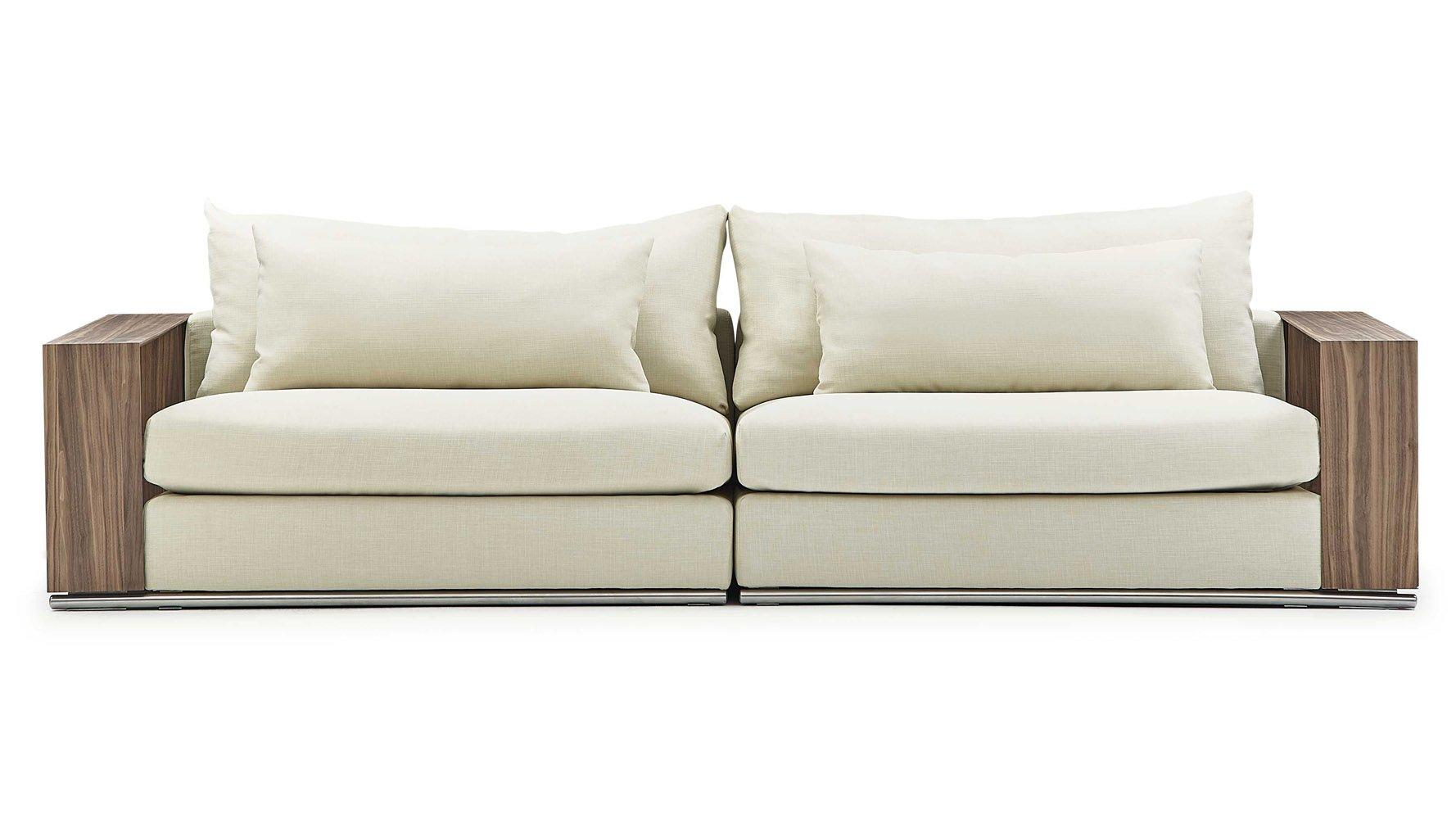 Soriano Wooden Arm Sofa In Beige Linen Zuri Furniture