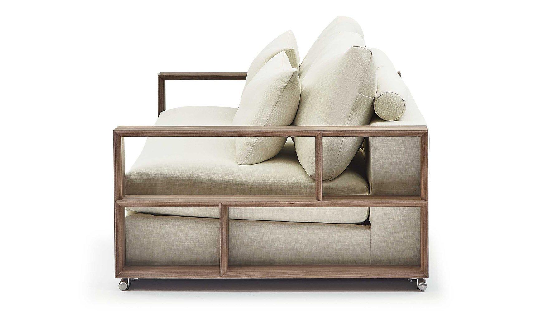 Soriano Wooden Arm 118 Inch Sofa Beige
