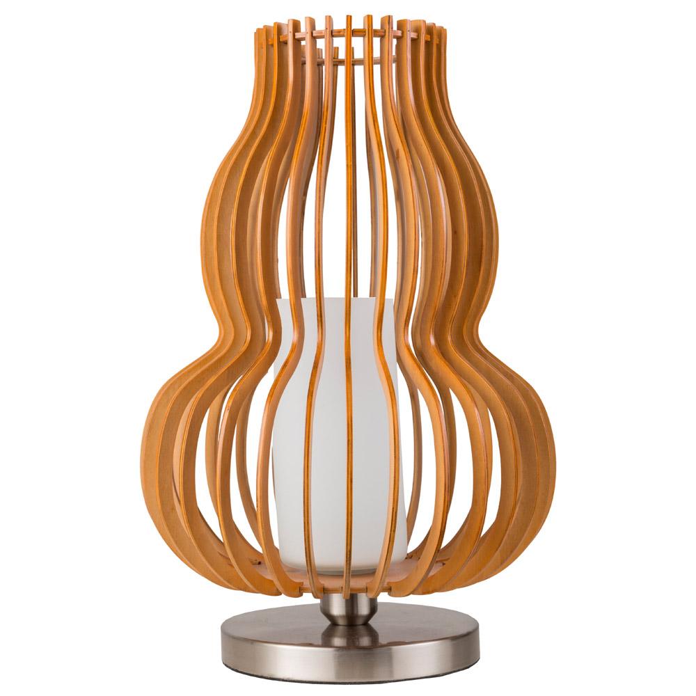 Stellan Metal Base And Orange Poplar Wood Shade Table Lamp Zuri
