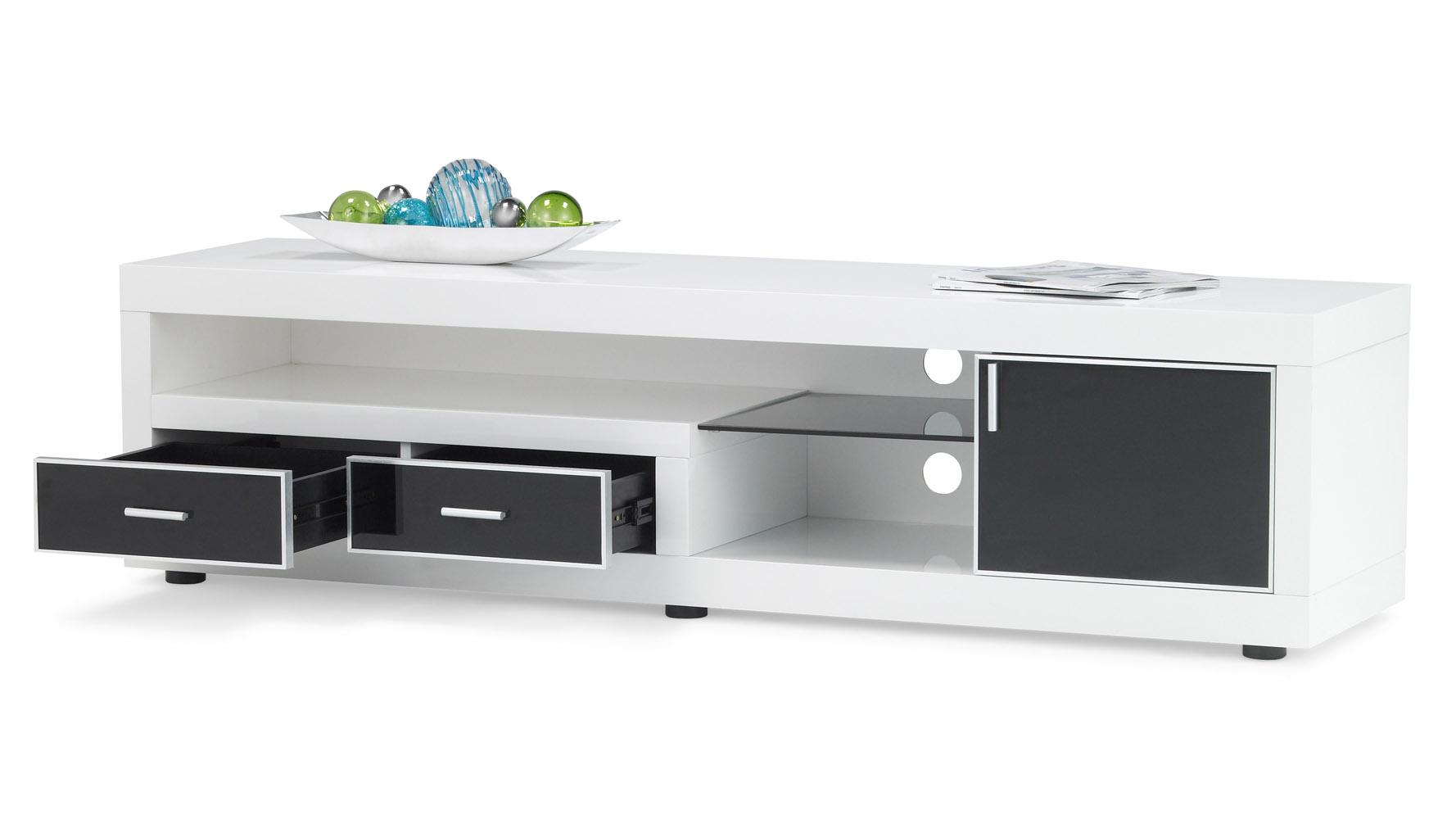 dark wood and white lacquer sullivan 71 inch tv stand zuri furniture. Black Bedroom Furniture Sets. Home Design Ideas