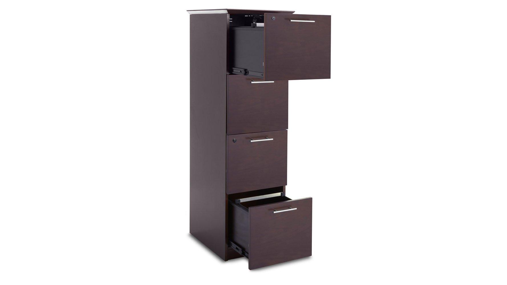 Taft Vertical 4 Drawer Filing Cabinet In Walnut Finish With Chrome | Zuri  Furniture
