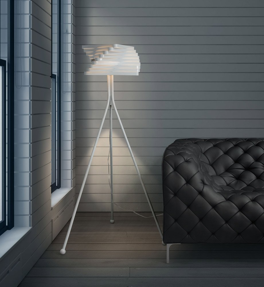 Painted white metal telescope floor lamp zuri furniture for White painted floor lamp