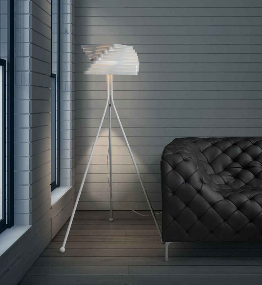 Painted white metal telescope floor lamp zuri furniture for White painted floor lamp