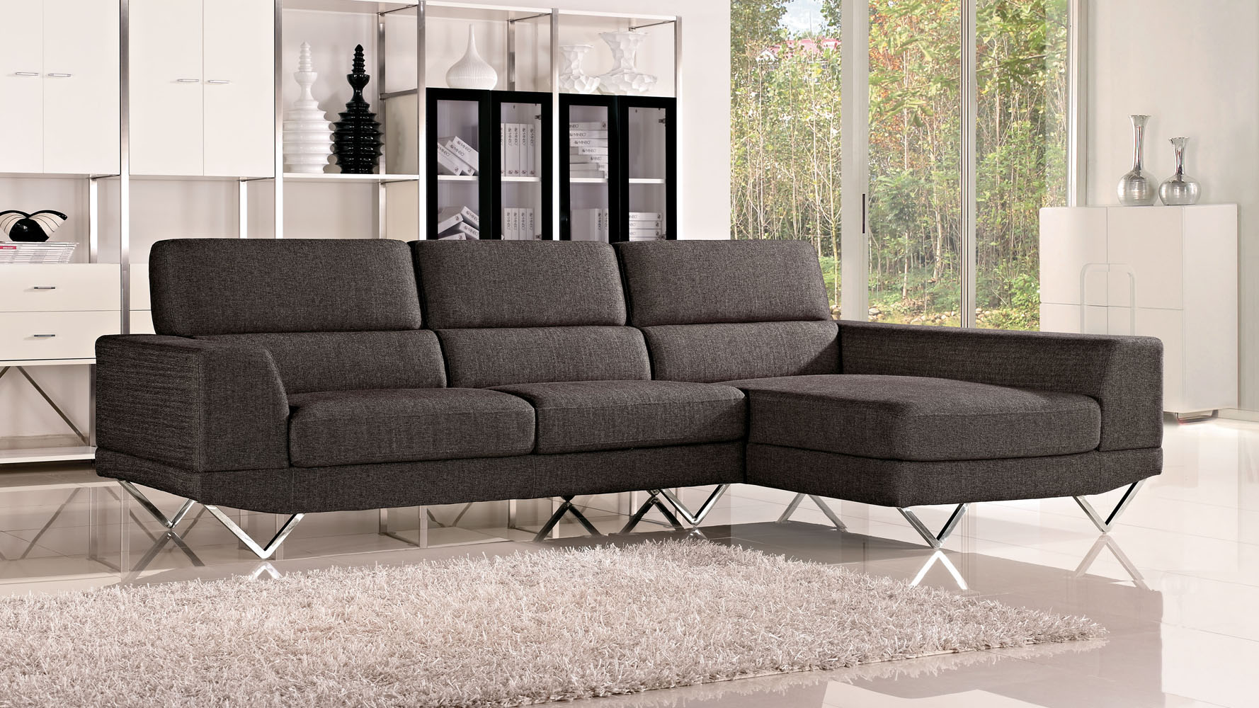 grey trago fabric sectional sofa zuri furniture. Black Bedroom Furniture Sets. Home Design Ideas
