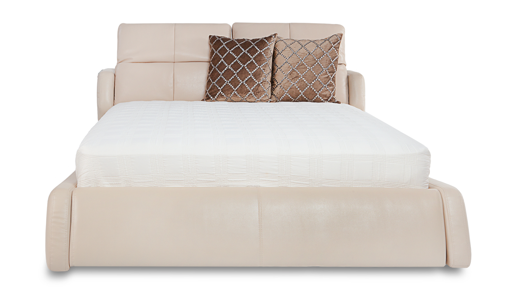 Villa Contemporary Leather Platform Bed Beige Zuri
