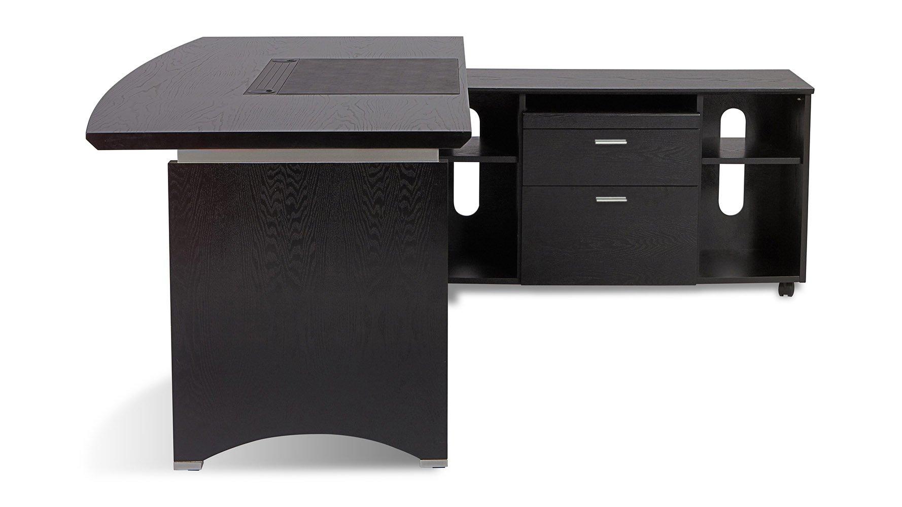 Washington Executive Desk With Return And File Cabinet Black Zuri Furniture