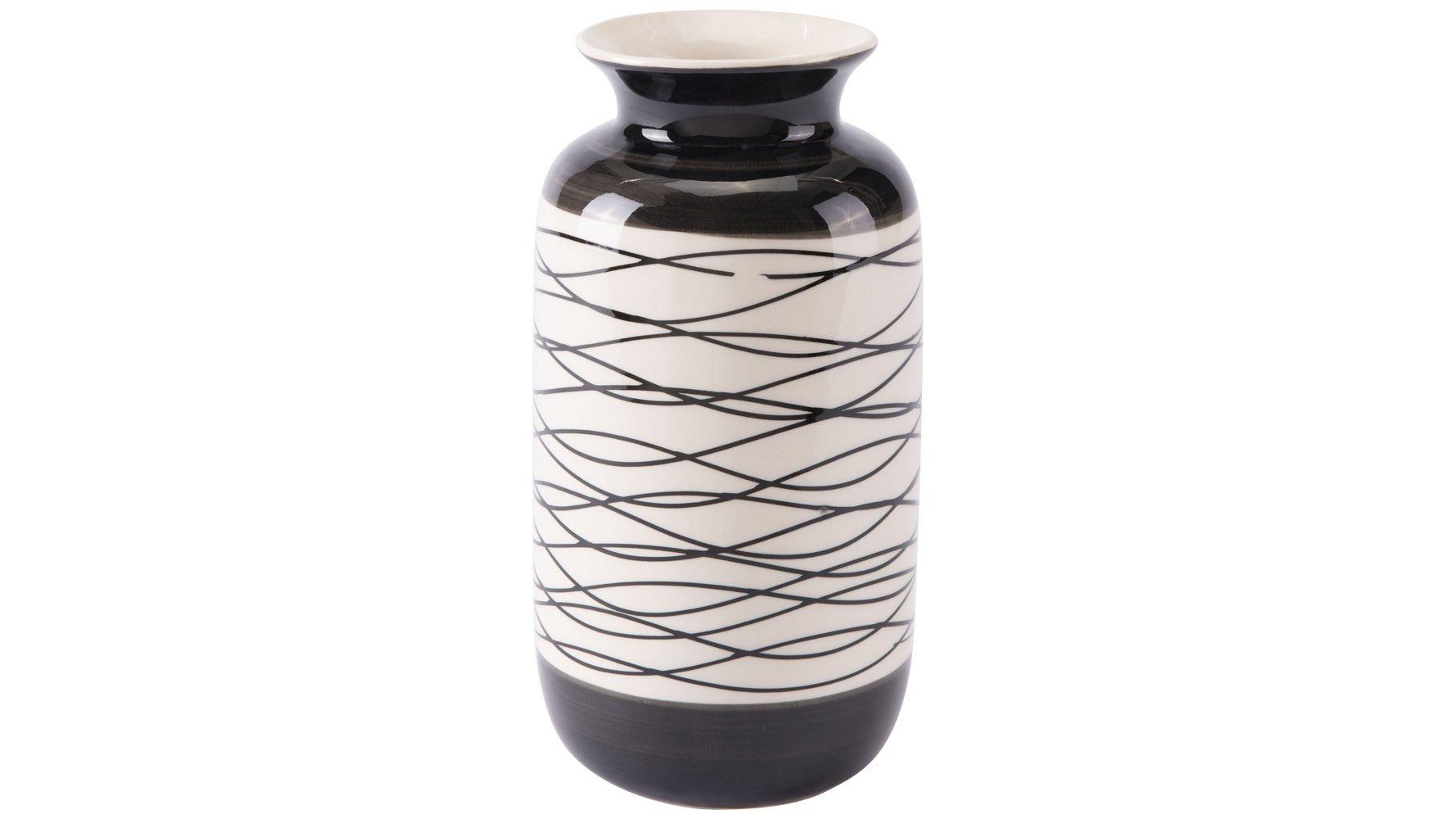 Wavy Stripes Short Vase Black Amp Ivory Zuri Furniture