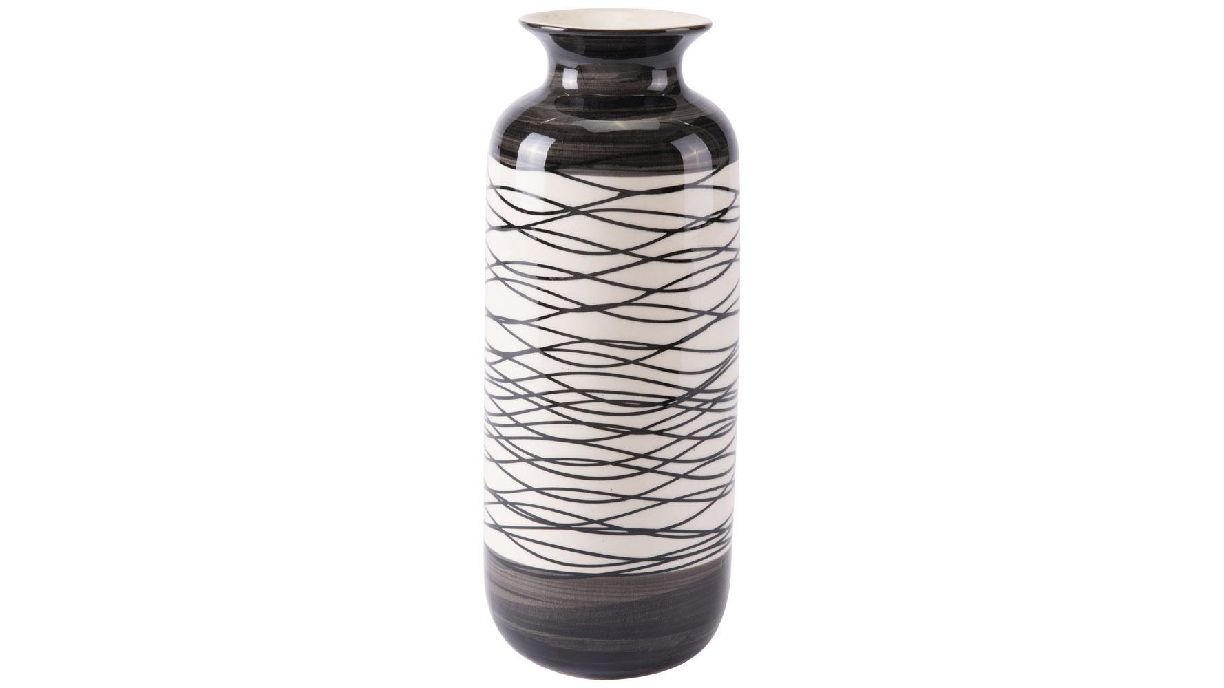 Wavy Stripes Tall Vase Black Amp Ivory Zuri Furniture