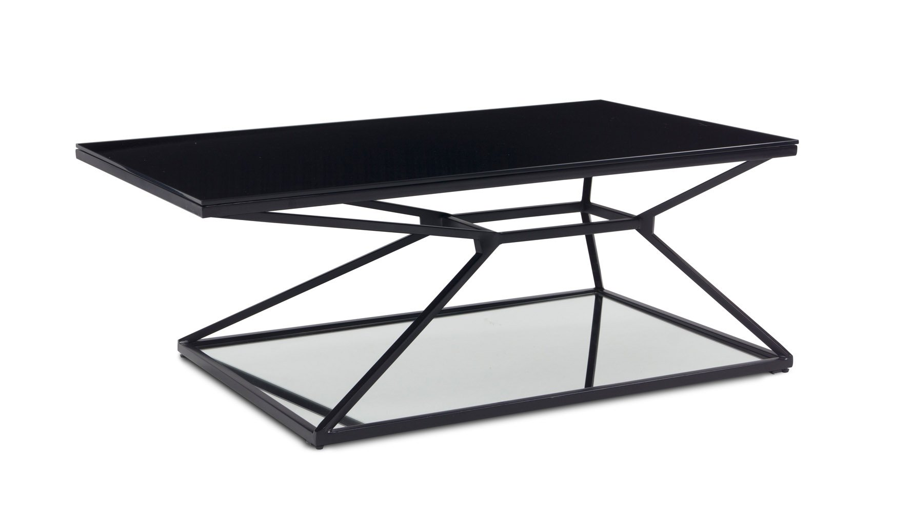 Wedge matte black steel coffee table zuri furniture geotapseo Image collections