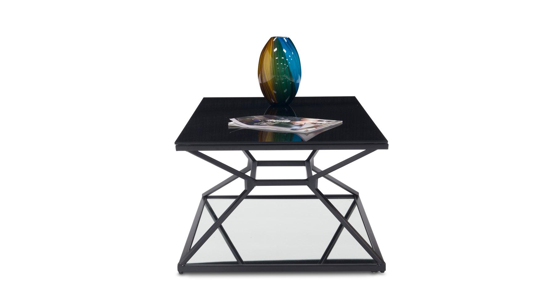 wedge matte black steel coffee table | zuri furniture