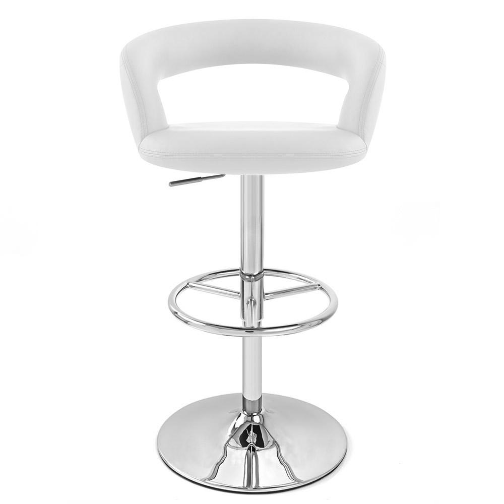 White Monza Adjustable Height Swivel Armless Bar Stool
