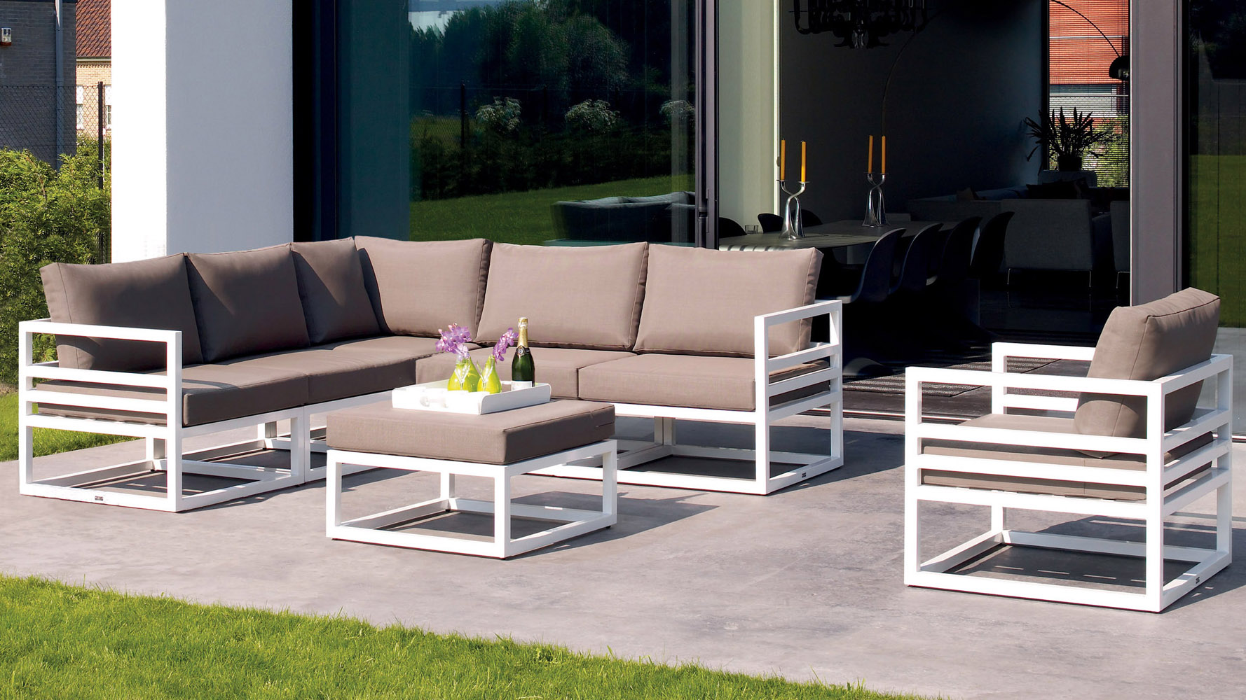 White aluminum fabri outdoor lounge set with taupe for Patio lounge sets