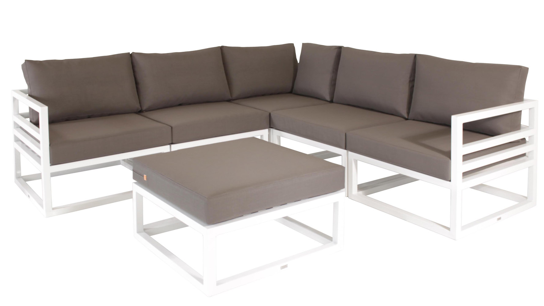 White Aluminum Fabri Outdoor Lounge Set With Taupe Cushions | Zuri Furniture