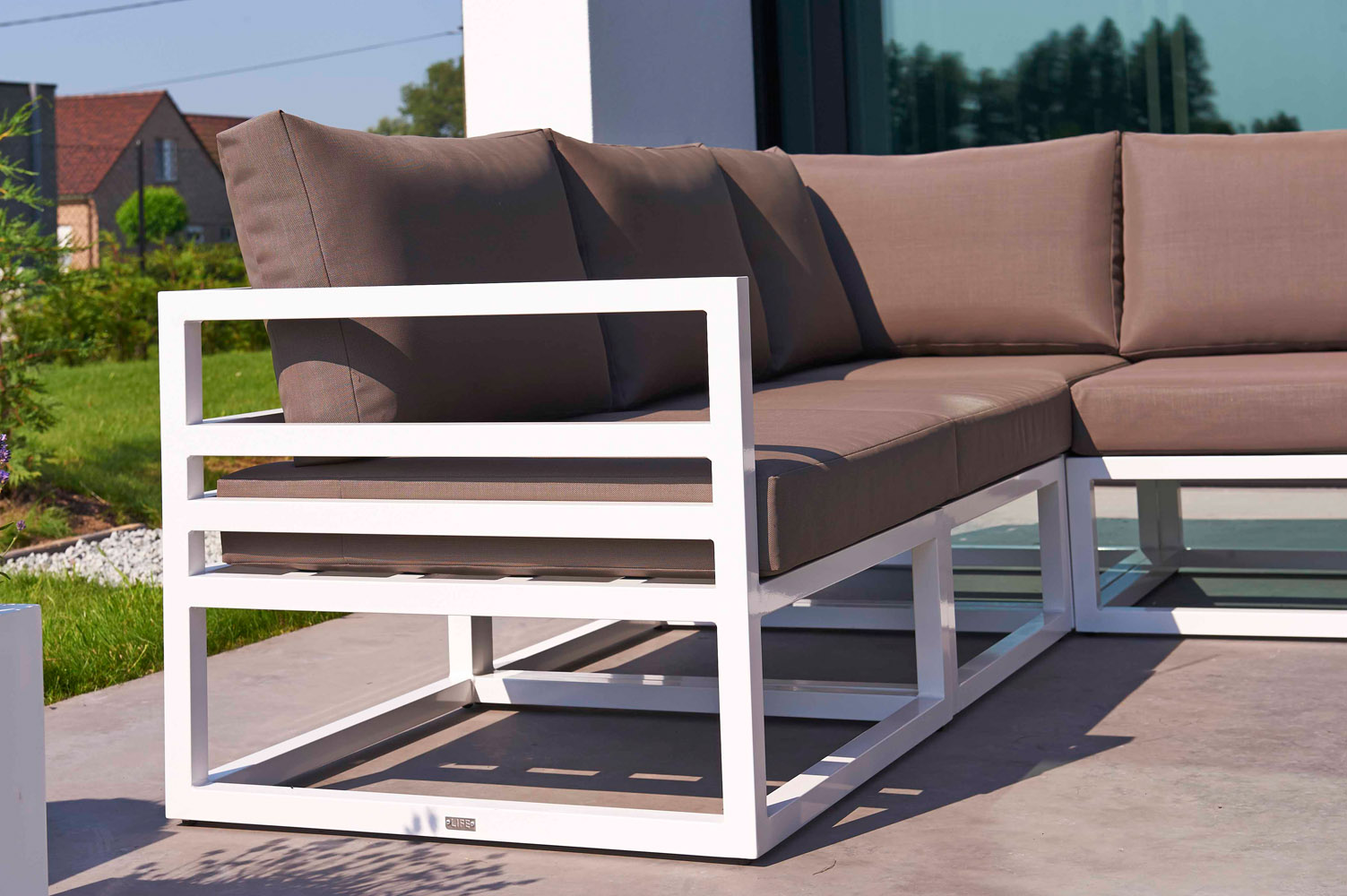 Awesome White Aluminum Fabri Outdoor Lounge Set With Taupe Cushions | Zuri Furniture