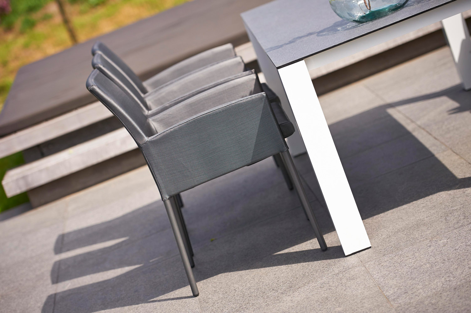 White Aluminum Roma Outdoor Dining Set With Grey Cushions