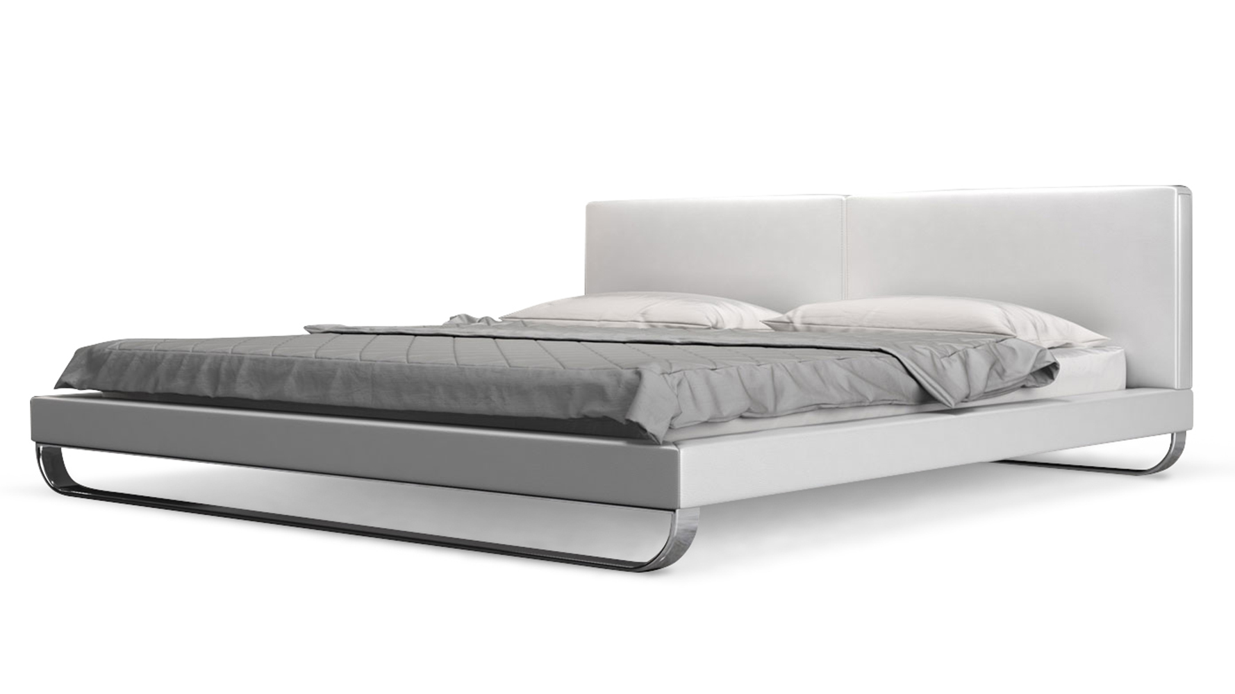 White Leather And Chrome Lucca King Platform Bed