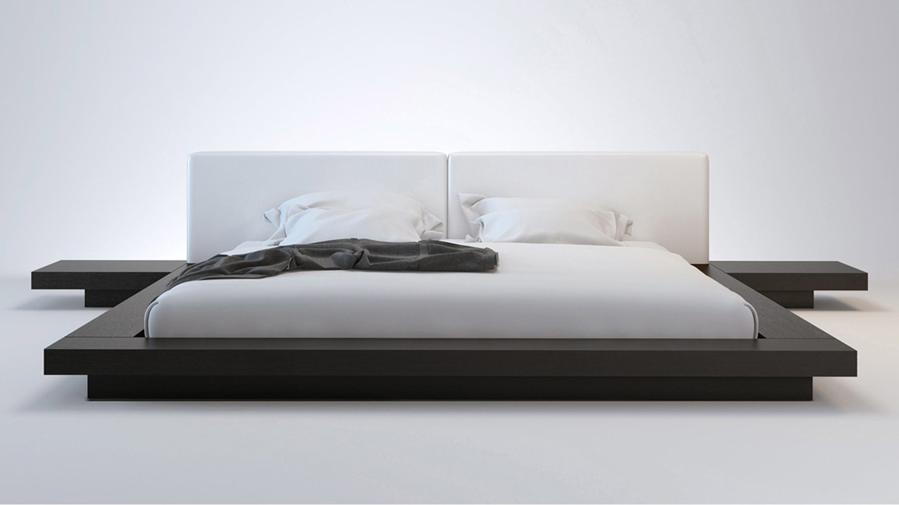 White Leather and Wenge Brookline Platform Bed | Zuri ...