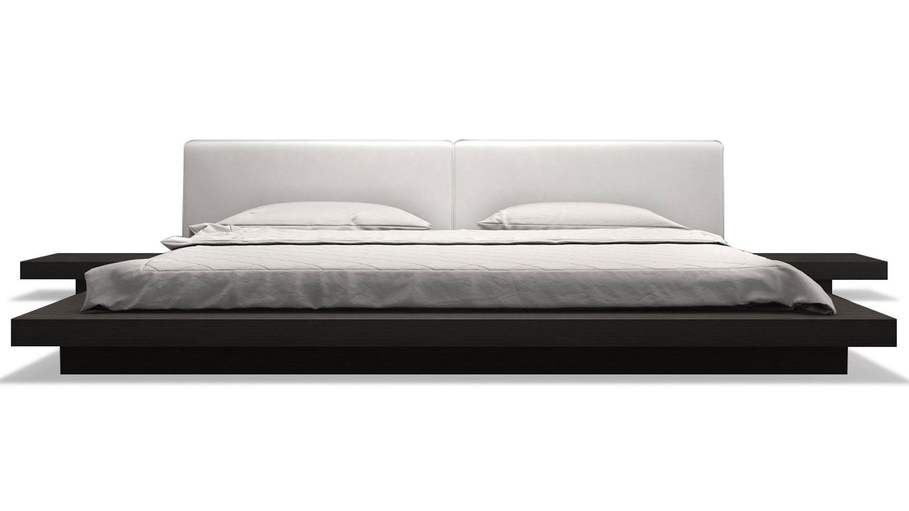 White Platform Bed Frames white leather and wenge brookline platform bed | zuri furniture