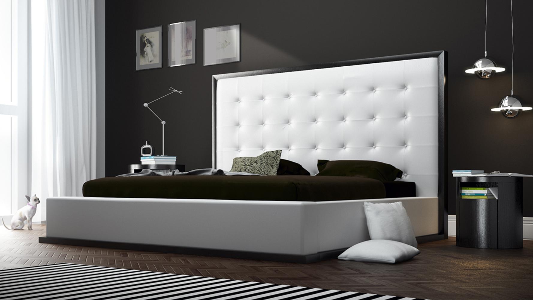 Siena platform bed white leatherette on wenge zuri furniture