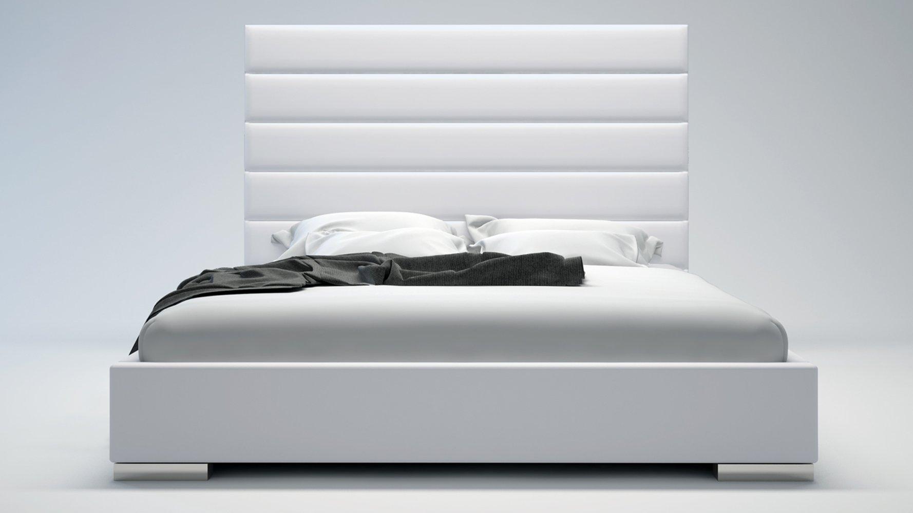 . White Panel Tufted Leather Reina Platform Bed   Zuri Furniture